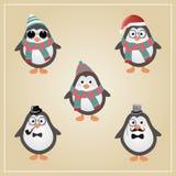 Winter-Hippie-Pinguin-Illustration Stockfoto