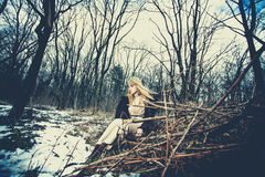 Winter hippie style woman Stock Image