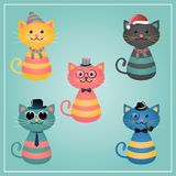 Winter Hipster Cats Illustration Stock Image