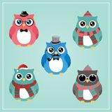 Winter Hipster Owl Illustration Stock Photos