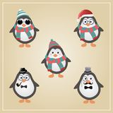 Winter Hipster Penguins Illustration Stock Photo