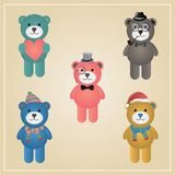 Winter Hipster Teddy Bear Illustration Stock Image