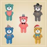 Winter Hipster Teddy Bear Illustration Stock Image