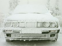 Winter hoarfrost covered car Royalty Free Stock Image