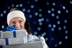 Winter: Holding Stack of Holiday Gifts Royalty Free Stock Photos