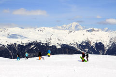 Winter holiday in the Alps. Winter sport and holiday in the Alps Stock Photos