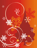 Winter holiday background. With snowflakes, a pine tree and swirls,  illustration Royalty Free Stock Image