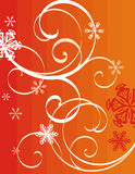 Winter holiday background. With snowflakes and swirls,  illustration Royalty Free Stock Photos