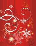 Winter holiday background. With snowflakes, baubles and swirls,  illustration Royalty Free Stock Photo