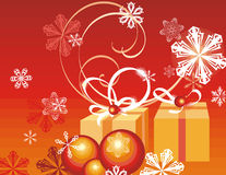 Winter holiday background. With snowflakes and gift boxes,  illustration Royalty Free Stock Photography