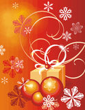 Winter holiday background. With snowflakes and a gift box,  illustration Royalty Free Stock Images