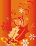 Winter holiday background. With snowflakes, leaves and ribbons,  illustration Royalty Free Stock Image