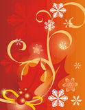 Winter holiday background. With snowflakes, leaves and ribbons,  illustration Royalty Free Stock Photography