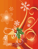 Winter holiday background. With snowflakes, leaves and ribbons,  illustration Royalty Free Stock Photo