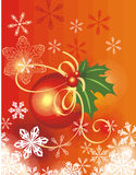 Winter holiday background. With snowflakes, leaves and ribbons,  illustration Stock Image
