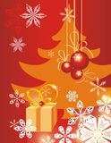 Winter holiday background. With snowflakes,  a gift box and a pine tree,  illustration Stock Photography