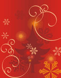 Winter holiday background. With snowflakes, a pine tree and swirls,  illustration Royalty Free Stock Photo