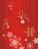 Winter holiday background. With snowflakes, baubles and ribbons,  illustration Stock Photo