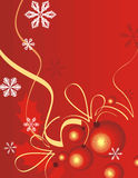 Winter holiday background. With snowflakes, ribbons and baubles,  illustration Royalty Free Stock Photos