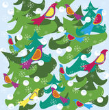 Winter holiday background birds. Winter holiday Christmas background with birds Royalty Free Illustration
