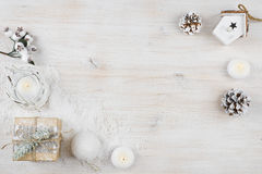 Winter holiday background on bleached wooden texture board.  stock photography