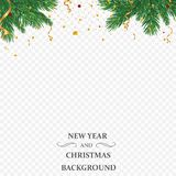 Winter holiday background. Border with Christmas tree branch isolated on transparent background. He is used for New year. Cards, banners, headers, party posters vector illustration