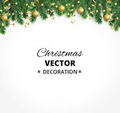 Winter holiday background. Border with Christmas tree branches. Garland, frame with hanging baubles, streamers. Winter holiday background. Border with Christmas Royalty Free Stock Image