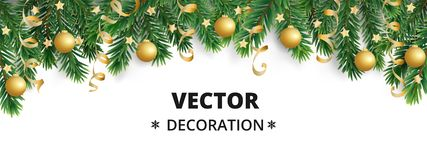 Winter holiday background. Border with Christmas tree branches. Garland, frame with hanging baubles, streamers. Winter holiday background. Border with Christmas vector illustration