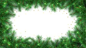 Winter holiday background. Border with Christmas tree branches and gold glitter confetti decoration. Isolated on white. Great for New year cards, banners stock illustration