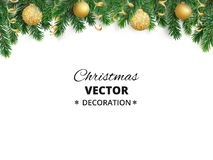 Winter holiday background. Border with Christmas tree branches. Garland, frame with hanging baubles, streamers Stock Photography