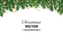Winter holiday background. Border with Christmas tree branches and ornaments. Stock Images