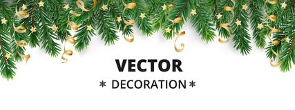 Winter holiday background. Border with Christmas tree branches and ornaments. Stock Photos