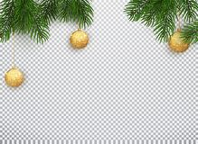 Winter holiday background. Border with Christmas tree branches and ornaments isolated on white. Vector illustration of. Christmas 10 EPS royalty free illustration