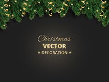 Winter holiday background. Border with Christmas tree branches and ornaments. Realistic fir needles garland, frame with streamers. Great for Christmas, New Royalty Free Stock Photo