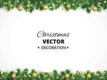 Free Winter Holiday Background. Border With Christmas Tree Branches. Garland, Frame With Hanging Baubles, Streamers Royalty Free Stock Photos - 104741258