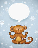 Winter holiday background with cartoon monkey and space for text Royalty Free Stock Photo