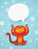 Winter holiday background with cartoon monkey and space for text Royalty Free Stock Photography