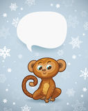 Winter holiday background with cartoon monkey and space for text Royalty Free Stock Images