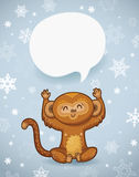 Winter holiday background with cartoon monkey and space for text Stock Photos