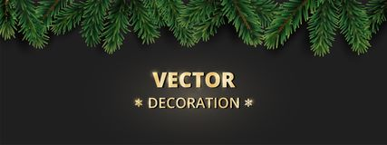 Winter holiday background with Christmas tree branches. Realistic fir-tree garland, frame Royalty Free Stock Image