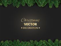 Winter holiday background with Christmas tree branches. Realistic fir-tree garland, frame. Great for Christmas and new year cards, banners, headers, party Stock Images