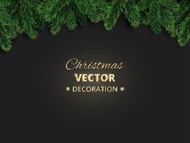 Winter holiday background with Christmas tree branches. Realistic fir-tree garland, frame. Great for Christmas and new year cards, banners, headers, party Royalty Free Stock Images