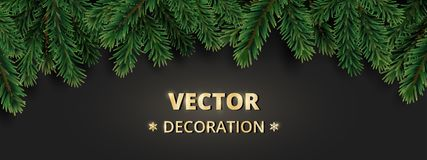 Winter holiday background with Christmas tree branches.   Stock Image