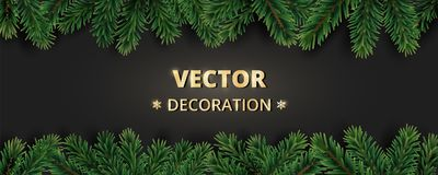 Winter holiday background with Christmas tree branches.   Stock Photo