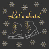 Winter holiday background with figure skates. Ice skates and snowflakes vector illustration doodle sketch. Winter holiday background with figure skates Royalty Free Stock Photography