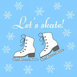 Winter holiday background with figure skates. Ice skates and snowflakes vector illustration hand drawn doodle. Winter holiday background with figure skates Royalty Free Stock Image
