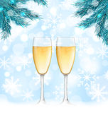 Winter Holiday Background with Glasses. Illustration Winter Holiday Background with Glasses of Champagne and Fir Branches - Vector Stock Image