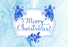 Winter holiday background with greeting text `Merry Christmas!`. Stock Photos