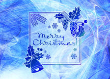 Winter holiday background with greeting text `Merry Christmas!`. Royalty Free Stock Image
