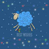 Winter holiday background with hand-drawing best wishes and blue Stock Photos